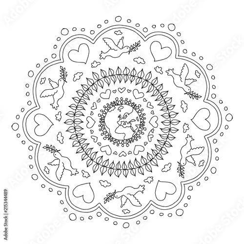 Mandala Ausmalbild Frieden Stockfotos Und Lizenzfreie Vektoren Auf