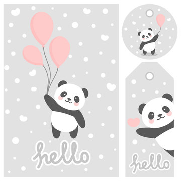 Panda vector print, baby shower card. hello panda with balloon cartoon illustration,  greeting card, kids cards for birthday poster or banner, cartoon invitation