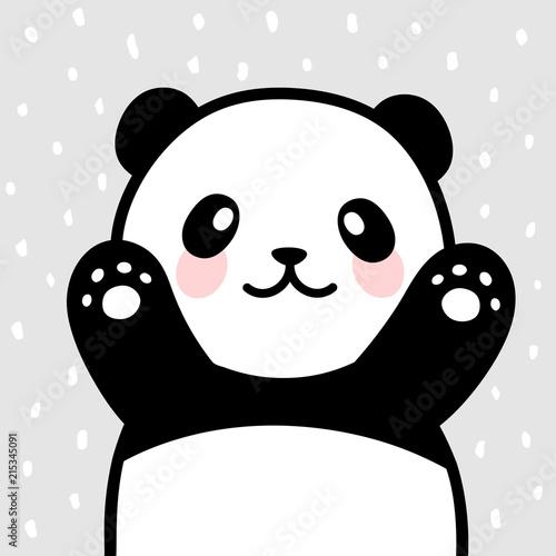 Panda Vector Print Baby Shower Card Hello Panda With Balloon