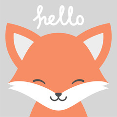 Hello Cute Fox Character Vector Design, greeting card, invitation with wolf, greeting card, poster, with cute, sweet hand drawn watercolor background