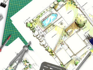Gartenbau - Gartenplanung mit Zeichnung