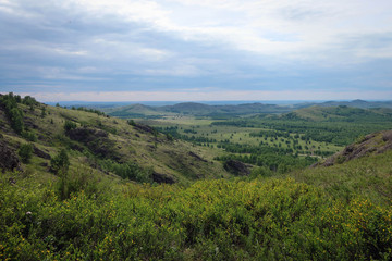Scenic landscape of South Ural mountains near Kryiktyitau range, Bashkiria, Russia