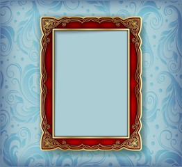 Wall Mural - frame photo on blue backround