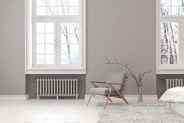 Scandinavian gray empty interior with lounge armchair, window and carpet.