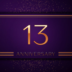 Realistic Thirteen Years Anniversary Celebration design banner. Golden number and confetti on purple background. Colorful Vector template elements for your birthday party