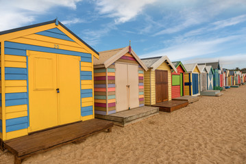 Colourful bathing boxes at Brighton beach in Melbourne, Australia