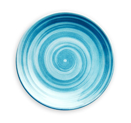 Photo sur Plexiglas Spirale Empty blue ceramic plate with spiral pattern in watercolor styles, View from above isolated on white background with clipping path