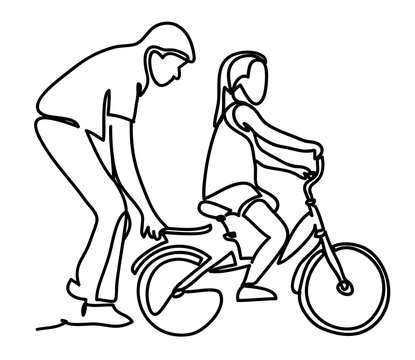 Caring dad teaching daughter to ride bike for the first time. Father man helping girl kid riding bicycle. Continuous line drawing. Isolated on the white background. Vector monochrome, drawing by lines