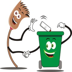 Friendship of brooms and trash cans. vector illustration