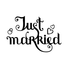 Just married postcard. Modern brush calligraphy. Isolated on white background.