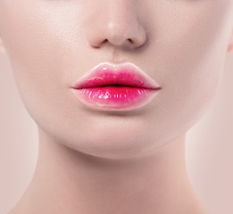 Fotobehang Fashion Lips Gradient lipstick trendy lips makeup closeup. Pink and white lips colors, nude make-up sample. Beautiful lips, sexy mouth