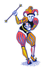 Bright colorful joker with staff in old engraving style on white