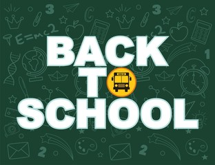Back to school text drawing by colorful chalk in blackboard with school items and elements