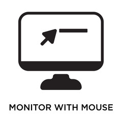 Monitor with mouse cursor icon vector sign and symbol isolated on white background, Monitor with mouse cursor logo concept