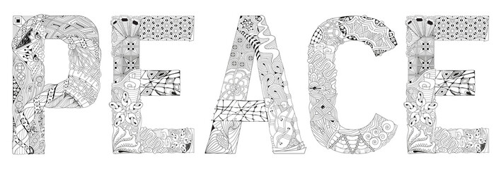 Word PEACE for coloring. Vector decorative zentangle object