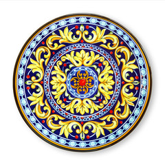 Ceramics decorative plates, Islamic plate with mandala pattern, View from above isolated on white...