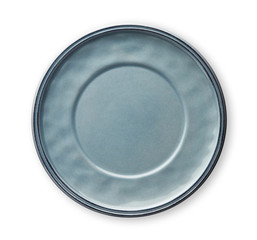 Empty ceramics plates, Classic blue plate, View from above isolated on white background with clipping path