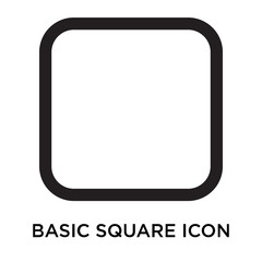 Basic square icon vector sign and symbol isolated on white background, Basic square logo concept