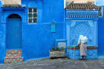 Street scene in the blue medina of Chefchaouen, Morocco