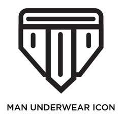 Man underwear icon vector sign and symbol isolated on white background, Man underwear logo concept