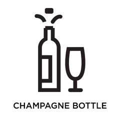 Champagne bottle icon vector sign and symbol isolated on white background, Champagne bottle logo concept