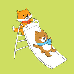 Cartoon cute fox and bear playing slider vector.