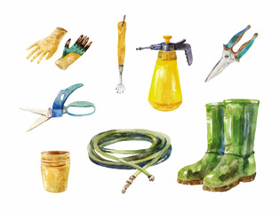 Gardening scissors, hose, rubber boots, sprayer and other garden tools
