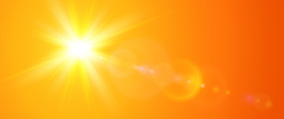 Sunny background, orange sun with lens flare