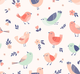 Cute birds floral vector pattern. Spring, summer seamless background with birds, flowers and leaves.