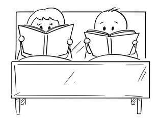 Cartoon stick drawing conceptual illustration of couple in bed. Both man and woman are reading book. Concept of lifestyle and relationship satisfaction.