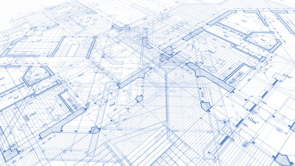 Architecture design: blueprint plan - illustration of a plan modern residential building / technology, industry, business concept illustration: real estate, building, construction, architecture