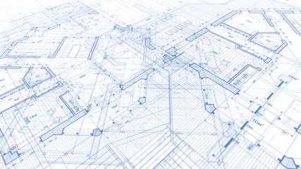 Architecture design: blueprint plan - illustration of a plan modern residential building /...