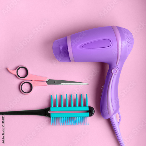 Hairdressing tools poster Scissors, hair dryer and flat comb