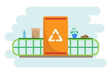 Vector illustration about waste recycling. Nature protection.
