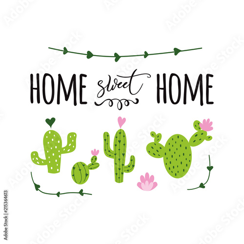 Home sweet home vector label Cute hand drawn Prickly cactus