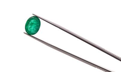 emerald gemstone isolated on white background