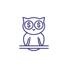 Smart investment line icon. Owl, wisdom, dollar. Business concept. Can be used for topics like finance management, income, success, metaphor