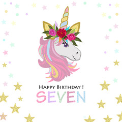 Seventh birthday greeting. Seven text. Magical Unicorn Birthday invitation. Party invitation greeting card
