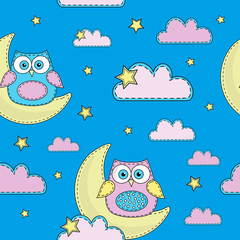 Cartoon Seamless Pattern Color Vector Illustration BLUE OWL Paper for Birthday and Party, Wall Decorations, Scrapbooking, Baby Book, Photo Albums and Card Print