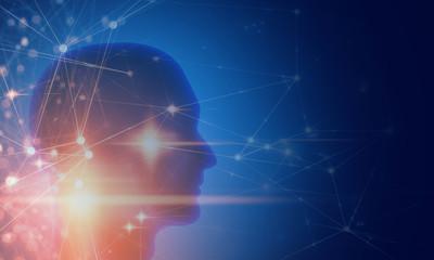 3d brain human head with digital ai network technology illustration background