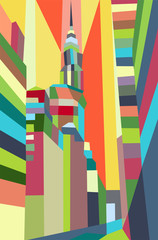 Colorful abstract buildings