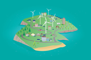 The island of nature renewable energy with wind turbine and solar panels. Vector illustration of ecological concept