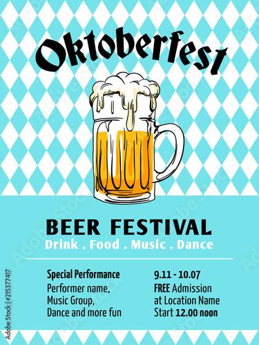 Oktoberfest Poster Design Munich Beer Festival With Bavaria Flag