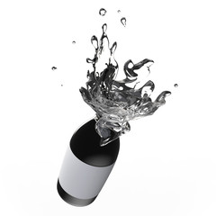 Splashing Water From A Black Bottle With Label