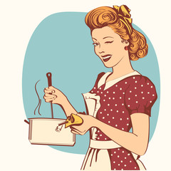 Retro young woman in retro clothes cooking soup.
