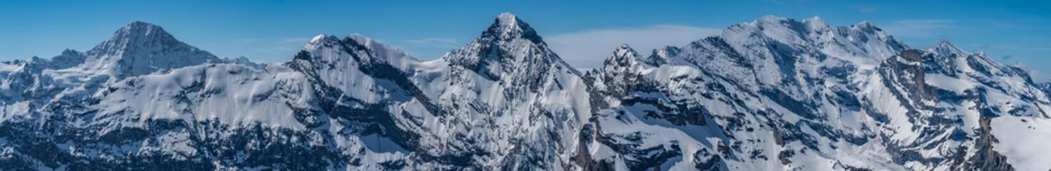 Switzerland, snow alps panorama view