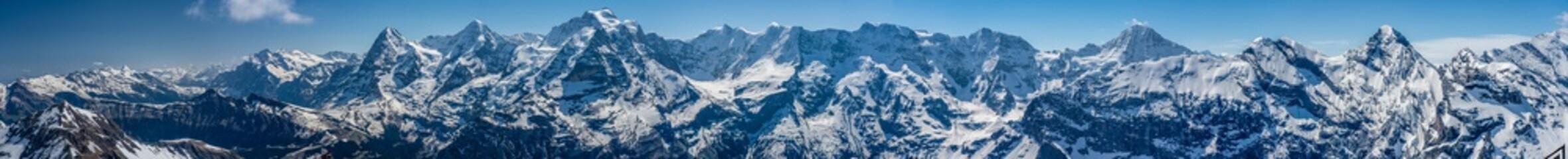 Switzerland, snow alps panorama view Fototapete
