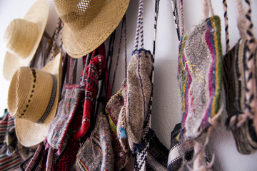 Romanian traditional hats and bags