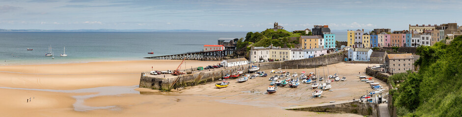 Panoramic view of the harbour and beach at Tenby on the Pembrokeshire coast, Wales, UK