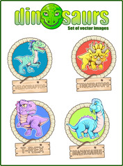 Cartoon cute dinosaurs, set of funny vector images